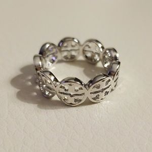 Tory Burch silver frozen logo ring